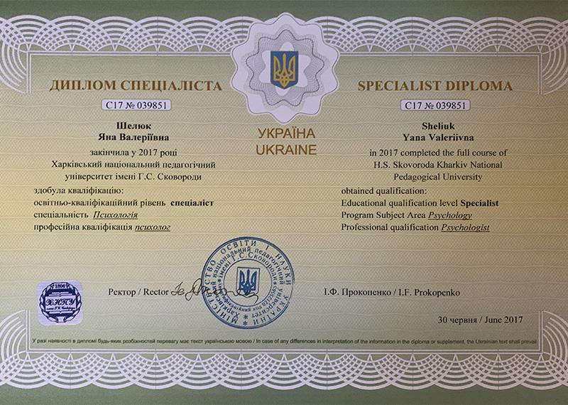 Диплом Шелюк Яна Валерьевна фото
